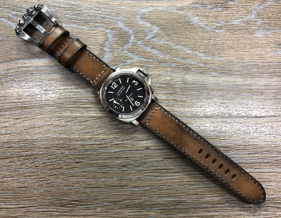 Leather Watch Straps, Aging Process Leather Watch Strap, Vintage Style Brown 24mm Watch Strap, Ageing Leather 26mm Watch Band, Retro