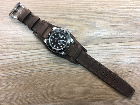 Leather Watch Band, Full Bund Strap, 20mm watch band, Cuff Band, brown Watch Band, 19mm strap, 20mm strap, FREE SHIPPING, Fathers Day