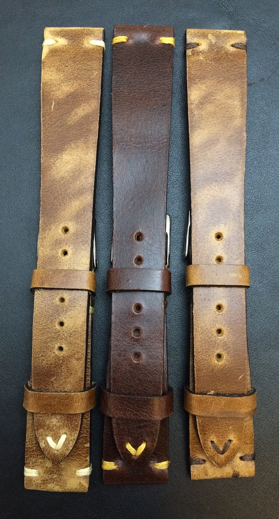 Leather watch band, Brown watch band, Leather watch strap, Combo set watch band, Vintage watch band for 19mm, 20mm lug, Brown, FREE SHIPPING