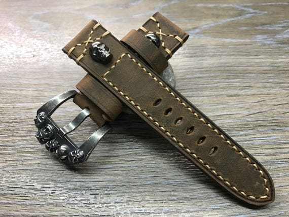 Leather Watch Band, 24mm watch band, Skull, Brown watch band, leather watch strap, Beige stitching, Easter Gift, FREE SHIPPING