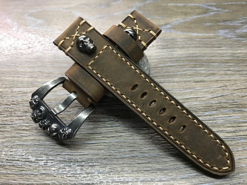 Leather Watch Band 24mm watch band Skull Brown watch band image 0
