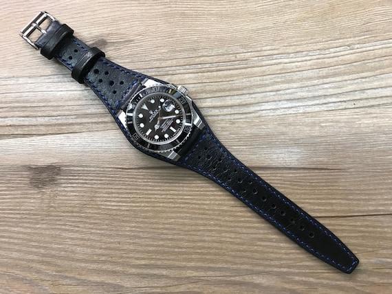Full Bund Strap, Leather Watch Band, Leather Cuff watch band, Pure Black Brogue Pattern Leather Cuff watch band 20mm lug
