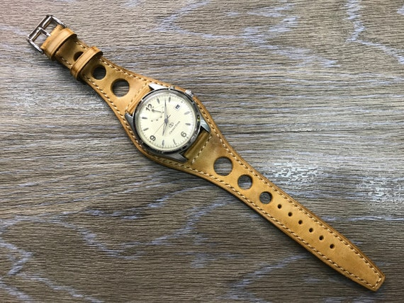 Leather Watch Band, Full bund strap, Rally watch band, Racing watch band, Vintage Beige Leather watch Strap, 20mm watch band, FREE SHIPPING