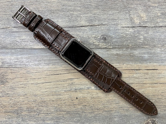 Apple Watch band 40mm, Personalised Gift ideas, Brown Alligator Watch Straps for Apple Watch Series 6, iWatch 44mm, Apple Watch Cuff Band