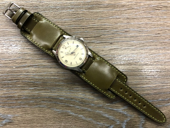 Shell Cordovan Leather Watch Straps, Army Green Leather bund Straps, 20mm Watch Strap, Personalise Mens Watch Band, Full Bund Strap