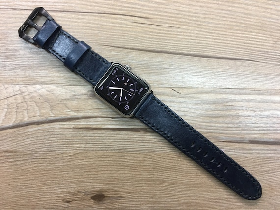 Apple Watch Bands for Apple Watch 44mm, Leather Watch Straps for Apple Watch Series 5, Blue Apple Watch 40mm Space Gray Titanium Watch Case