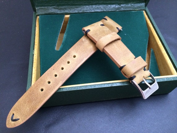 Vintage look genuine leather watch Strap, handmade leather watch band w Black Stitching - 18mm/19mm/20mm lug width, 16mm buckle