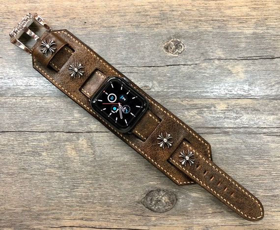 Apple Watch Band, Brown Apple Watch Band, Apple Watch Space Gray, Apple Watch 44mm 42mm 40mm, Series 5, iWatch, Sterling Silver 925