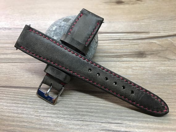 Leather watch band, Handmade Leather watch strap, dark brown, Leather Watch strap, nato strap, Vintage strap for  - 19/20mm