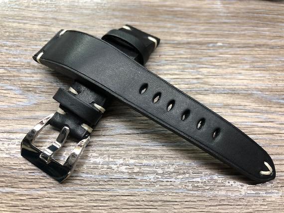 Black Leather Watch Strap, Leather watch strap 22mm, Watch band 22mm, genuine leather watch Strap with White Stitching, Valentines Days Gift