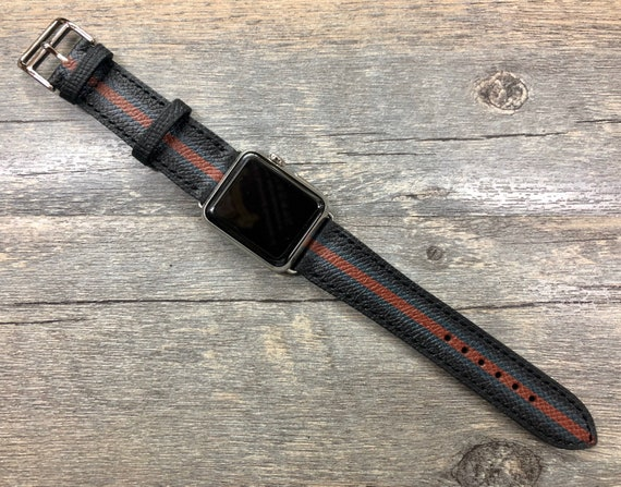 Apple Watch Band Single Tour Rallye, Space Gray Apple Watch 40mm 44mm, Black Green Red Stripe Leather Watch Strap, Personalise Gift Idea