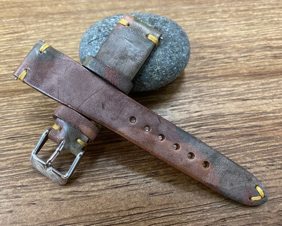 Leather Watch Straps, Ghost Camouflage Pattern Brown Genuine Leather Watch Band in 20mm 19mm, Wrist Watchband, Gift Ideas for Husband