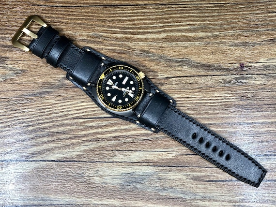 Leather bund Straps, leather watch strap 22mm, Full bund strap, Leather Cuff watch band, Mens Wrist Watch Band, Christmas Gift Ideas