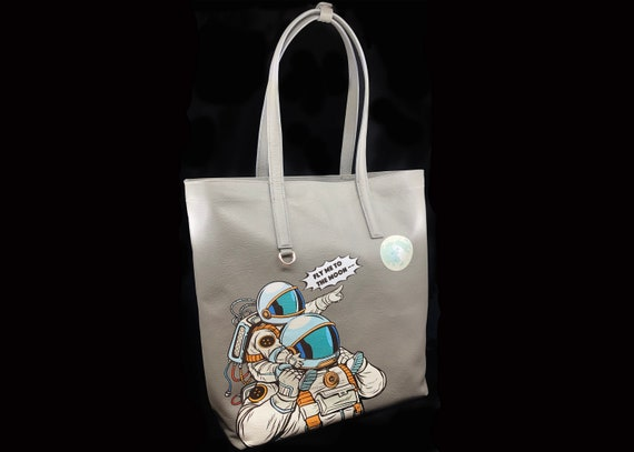 Astronaut Tote Bag with Art, Genuine Leather Tote Bag Lined, Space Tote Bag with a Moon, Space Gifts for Women Christmas, Astronaut Gift