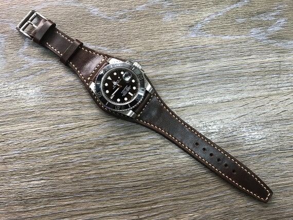 Leather watch band, 20mm watch band, Leather Watch Strap, Brown Watch Band, Full Bund Strap, cuff watch band, watch band, Free Shipping