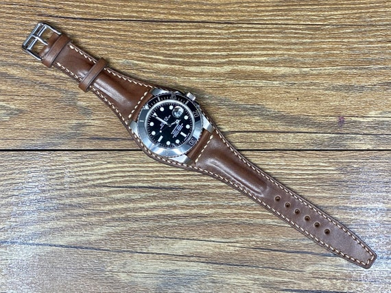 Full Bund Straps, Leather Watch Straps 20mm, Leather Cuff Watch Strap 19mm, Brown Mens Wrist Watch Band, Christmas Gift Ideas Personalise
