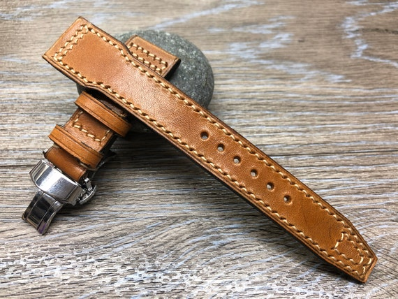 Pilot Watch Strap 22mm, Pilot Band, Leather Watch Strap 20mm, Deployment Clasp Buckle, Brown Leather Watch Band, Christmas Gift for Husband
