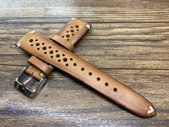 Rally Watch Straps, Leather Watch Straps, Vintage Brown Retro Racing Watch Band for 19mm 20mm Watch, Personalise Christmas Gift Ideas