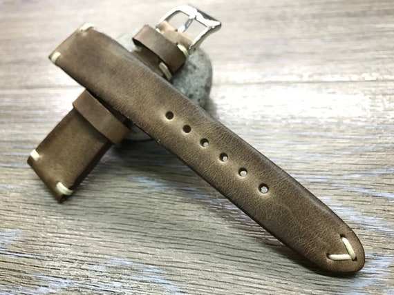 Leather watch band, Leather watch strap, Vintage Brown watch band for 19mm, 20mm lug, Brown watch band, 16mm buckle, FREE SHIPPING