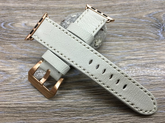 Cream White Apple Watch Band for 44mm, 40mm Series 5 - Space Grey, Gold, Silver aluminium, Stainless Steel Case - GPS Cellular Model