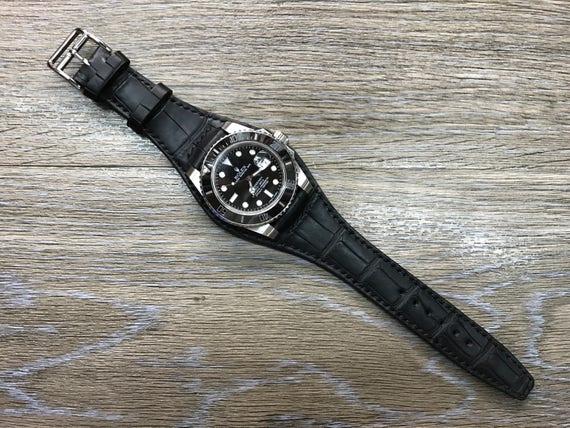 Full bund strap, Black, Genuine Leather, Cuff watch band, Cuff watch Strap, 20mm, leather watch band, leather watch strap, FREE SHIPPING