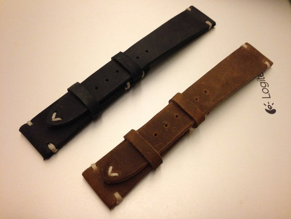 Leather watch strap, Brown watch strap, 20mm watch strap, Leather watch band, Combo set watch band, Brown, Black watch band, FREE SHIPPING
