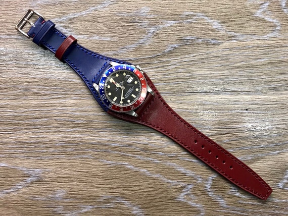 Leather Watch strap, leather watch band 20mm, leather bund strap, 20mm watch strap, Blue & Red watch Strap replacement, FREE SHIPPING