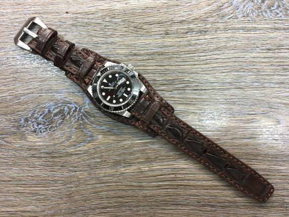 Full bund strap, Brown, leather watch band, cuff watch strap, cuff watch band, watch band, Leather watch Strap, 20mm lug, FREE SHIPPING