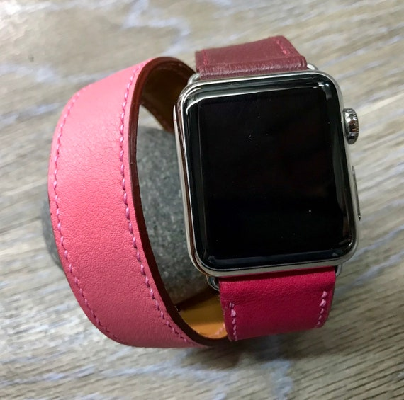 Apple Watch Band, Apple Watch Double Tour, Apple watch 40mm, Leather Watch Band, Apple Watch Strap, FREE SHIPPING, iwatch 38mm, Rose Azalée