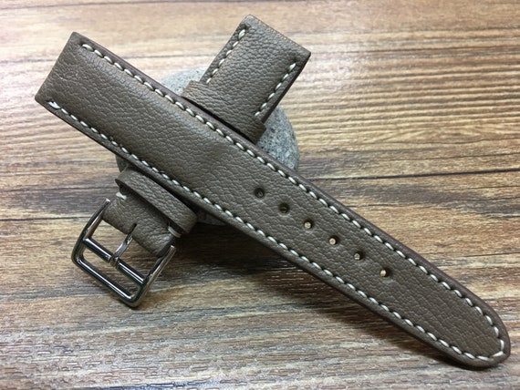 Leather watch band, Leather watch strap, ETOUPE ELEPHANT GREY, Watch band, 20mm watch strap, 19mm band, 20mm watch band, Free Shipping