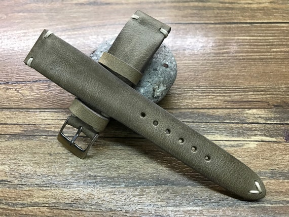 Leather watch strap, Leather watch band, Vintage Gray watch band for 19mm, 20mm lug, Gray watch band, FREE SHIPPING