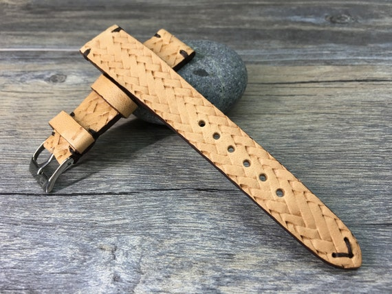 Leather Watch band, leather Watch strap, 19mm watch band, 19mm strap, Beige, leather craving art watch band, 20mm Watch band, FREE SHIPPING