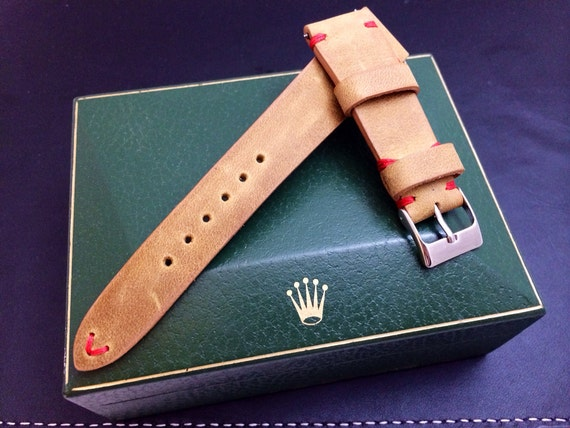 Vintage handmade genuine leather watch Strap, watch band for , khaki, beige color, Red Stitching - 18mm/19mm/20mm lug, 16mm buckle