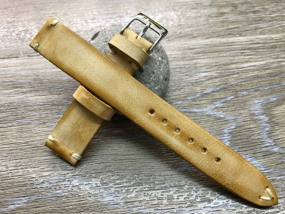 Watch strap 20mm, Leather Watch Strap 19mm, Leather Watch Band Beige, Vintage Beige watch strap, Vintage watch band, FREE SHIPPING