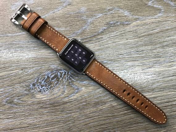 Apple Watch 44mm 38mm 40mm 42mm, Caramel, Apple Watch Band, Leather Watch Band, Leather Watch strap, iwatch, watch band, Series 3 4 5 6