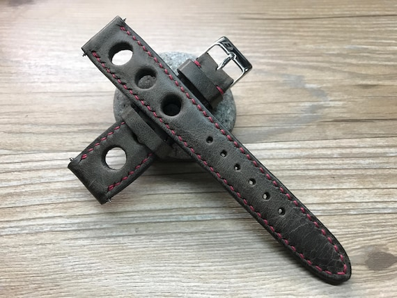 Leather watch band, Handmade Leather watch strap, Dark Brown, Rally Watch band, Racing watch band for  - 19/20mm, Free Shipping