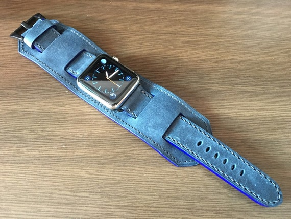 Apple Watch Band | Apple Watch Strap | Vintage Leather Cuff Watch Band | Vintage Blue Leather Cuff Watch Strap For Apple Watch 42mm
