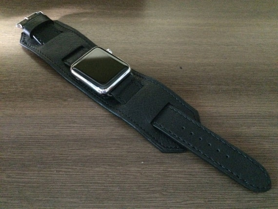 Apple Watch Band, Apple Watch 44mm Stainless Steel Black Leather watch Strap, Apple Watch 42mm Leather Bund Strap, iWatch Series 5