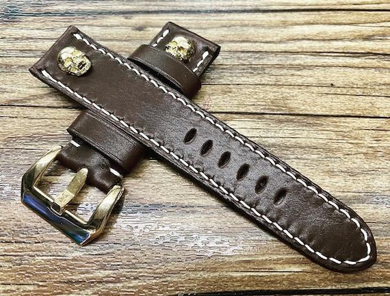 24mm straps, Handmade Brown leather watch band, real leather watch strap, watch strap for Panerai, 24mm, 26mm, Cream white stitching