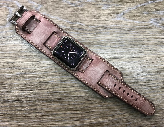 Apple Watch Band, Handmade Apple Watch Strap, Vintage Leather Cuff Watch Band, Vintage brown Cuff band For Apple Watch 42mm, Series 1 & 2