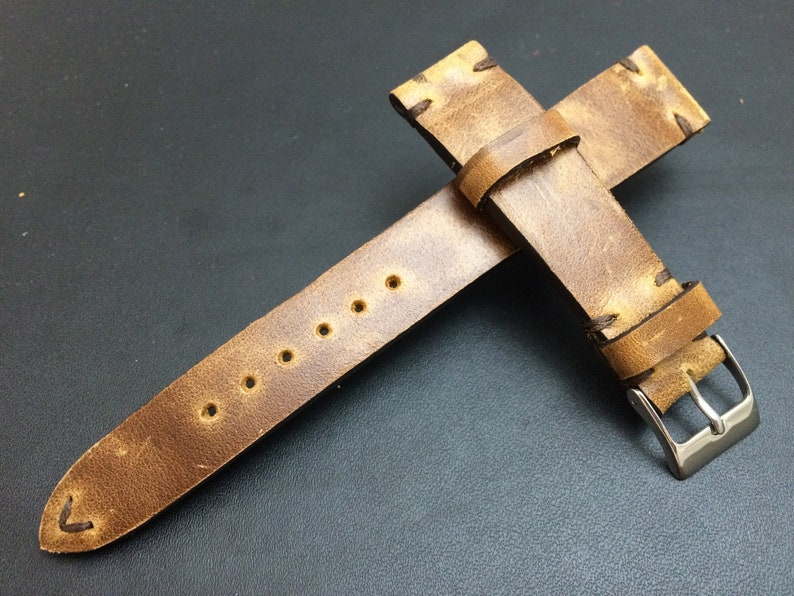 Genuine Leather Brown Watch Straps in 19mm Watch Band Gift image 1