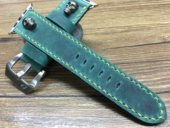Apple Watch Band | Apple Watch Strap | Apple Leather Watch Band | Vintage Green Leather Watch Strap w Skull For Apple Watch 38mm & 42mm