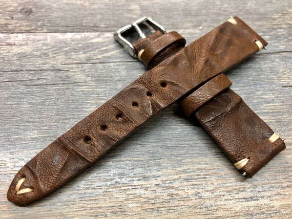 Brown Watch Strap, 20mm Leather watch strap, Christmas gift for husband, 18mm 19mm watch strap, Custom Irregular Pattern Brown wrist band