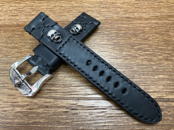 Black leather watch Straps 20mm, Sterling Silver 925 Skull, Buckle Watch Band, 22mm Wrist Watch Straps in Black Stitching, Men gift ideas