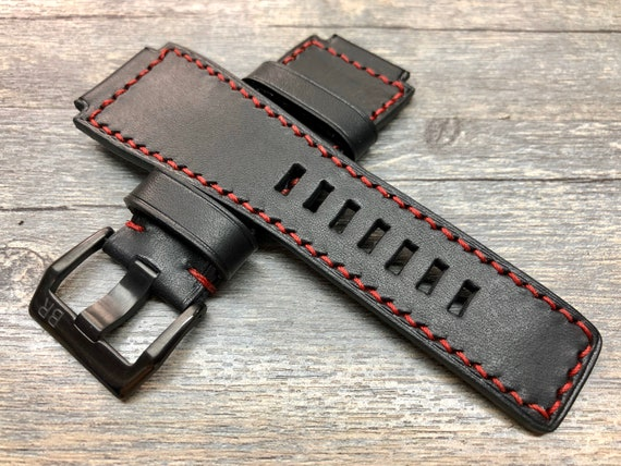 Black Leather Watch Strap with Red Stitching, 24mm Watch Strap Replacement, leather watch band, Mens wrist watch Band, Valentines Gift Ideas