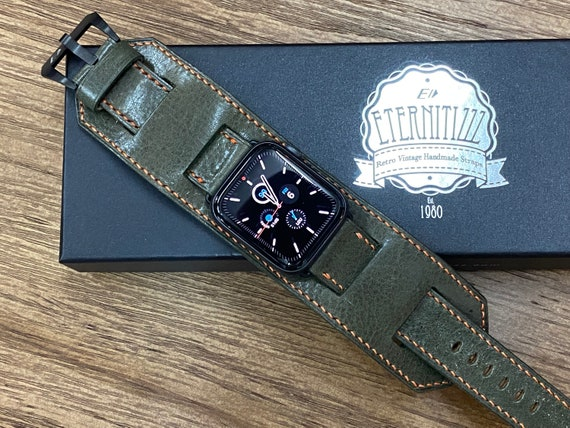 Greyish Green Apple Watch Band for Series 6 44mm, iWatch Band, Genuine Leather Apple Watch Band, Trendy Apple Watch Band, Gift Ideas for him