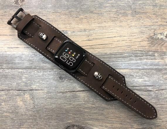 Fitbit Versa 2 band, Versa, Lite, Fitbit Versa 2 Watch Band, Full Bund Strap, Leather Cuff Band, Leather Watch Band, Brown, Skull