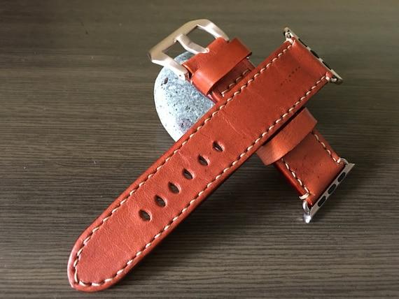 Apple Watch Band | Apple Watch Strap | Orange Leather Watch Strap For Apple Watch 38mm & Apple Watch 42mm