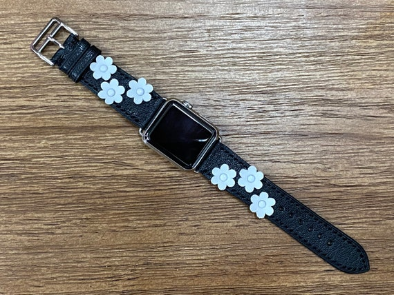 Genuine Leather Apple Watch Band with Flowers, Black Leather Apple Watch Band 40mm, Apple Watch 6 Band, iWatch Band, Apple Watch Strap Women