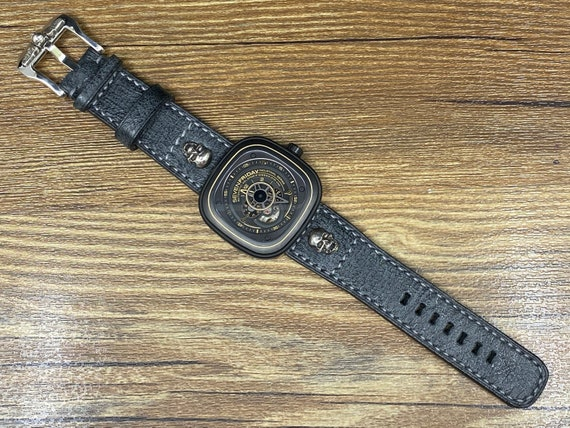 Black Leather Watch Straps, 28mm Watch Band, Vintage Mens Wrist Watch Band, Silver 925 Skull, Mens Watch Straps, Valentines Day Gift Ideas